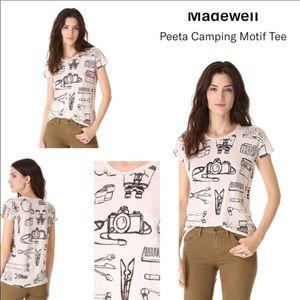 Madewell M Peeta Camping Motif Tee Linen  .